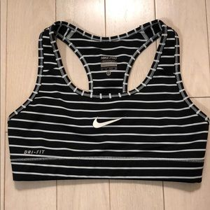 Nike dry-fit black and white stripe sports bra